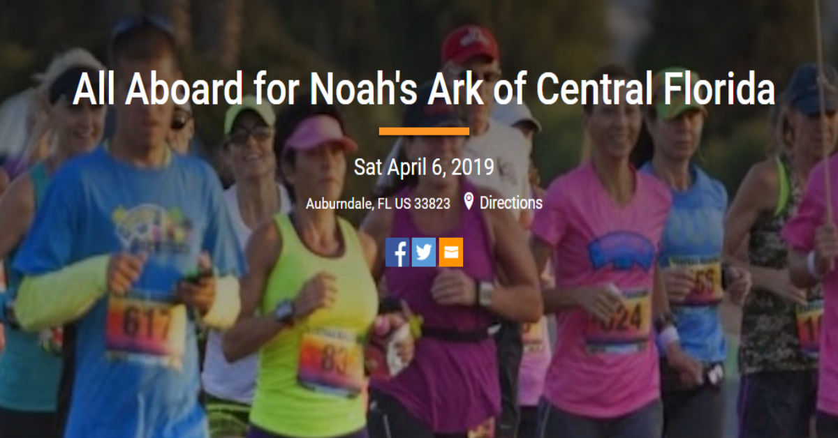 Join Noah's Ark on a 5K Run & Walk – Saturday April 6 2019